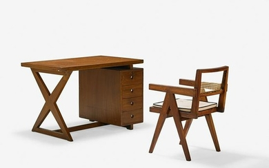 PIERRE JEANNERET Desk and chair