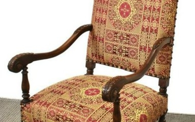 FRENCH LOUIS XIII STYLE WALNUT FAUTEUIL ARMCHAIRS