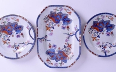 A REGENCY SPODE TOBACCO LEAF SMALL PLATTER with two