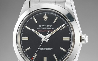 Rolex, Ref. 1019 inside caseback stamped III.68 A highly rare and attractive stainless steel antimagnetic wristwatch with black lacquer dial and bracelet