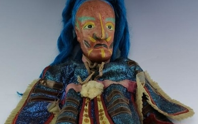 VTG Tribal Carved Wood & Polychrome Puppet Doll