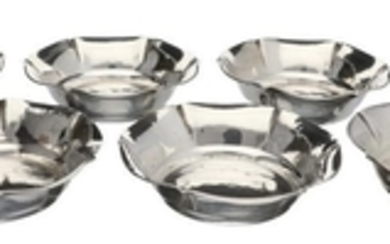 (6) Piece set petitfour dishes with scalloped edge and hammered decor silver.