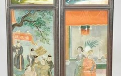 Chinese two panel folding screen, each panel having