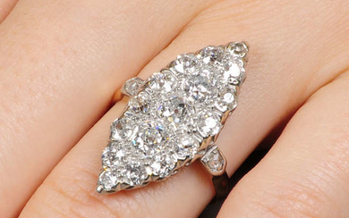A platinum and 18ct gold old-cut diamond marquise-shape ring.