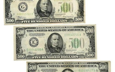 Three 500 Dollar Federal Reserve Notes