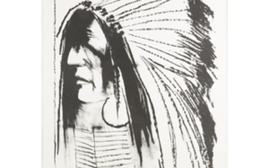 """two prints LEONARD BASKIN (american, 1922-2000) """"INDIAN"""" AND """"CHIEF..."""