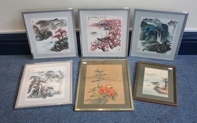 Six assorted Chinese paintings on silk, mostly depicting lan...