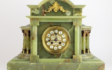 19th C. French Marble & Gilt Bronze Mantle Clock