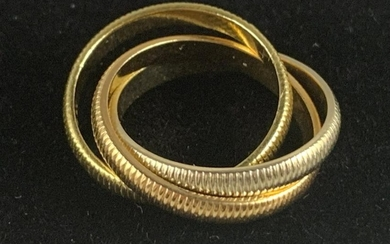 CARTIER SIGNED 14K GOLD ROLLING WEDDING RING