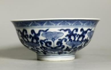 Chinese Qing Blue & White Porcelain Flower Bowl