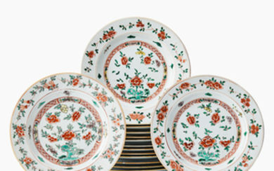 Fifteen Chinese famille verte dishes