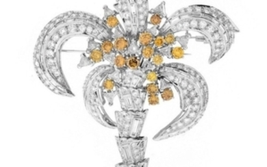 Large Diamond and Platinum Brooch