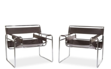 Marcel Breuer pair of Wassily chairs circa 1960s Chromed...