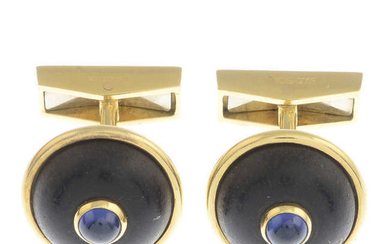 A pair of sapphire cabochon and brown coral cufflinks,