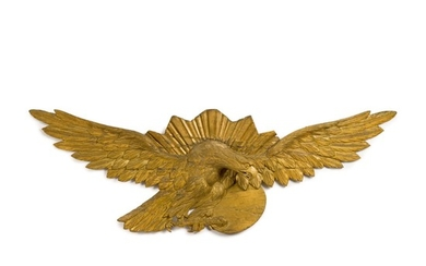 VERY FINE LARGE CARVED GILTWOOD SPREAD-WINGED 'SUNBURST' AMERICAN EAGLE WALL PLAQUE, LATE 19TH CENTURY