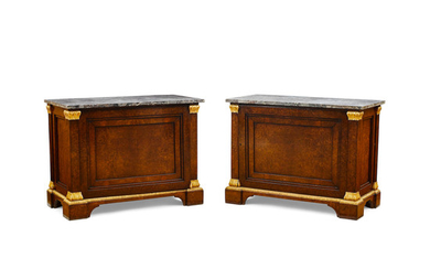 A Pair of Neoclassical Style Marble Top Parcel Gilt Pollard Oak Cabinets