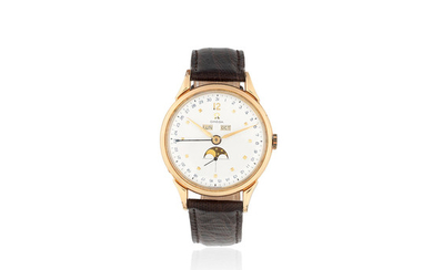 Omega. A gold plated manual wind triple calendar wristwatch with moon phase