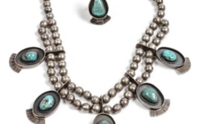 Southwestern Silver and Turquoise Necklace and Ring