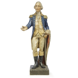 Carved and painted figure of General George Washington early...