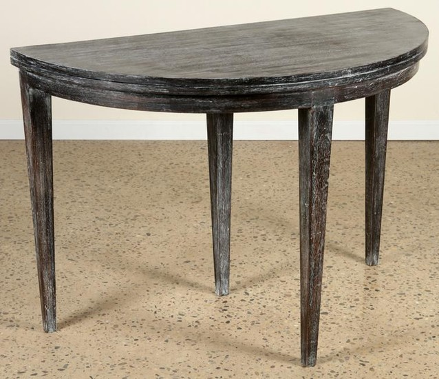 FRENCH CERUSED OAK FLIP TOP CONSOLE TABLE C.1940