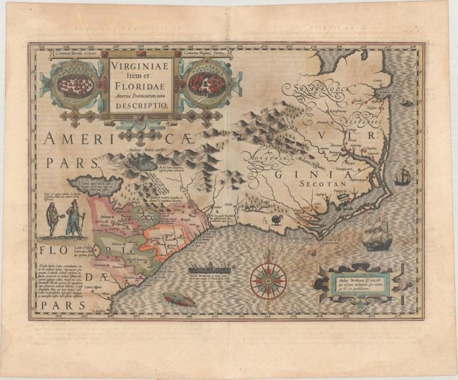 "Price reduced by $300! A Seminal Map of the Southeast and Early American Cartography, ""Virginiae Item et Floridae Americae Provinciarum, Nova Descriptio"", Hondius, Jodocus"
