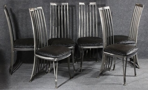 Lot Art Set 6 Polished Steel Modern High Back Dining Chairs