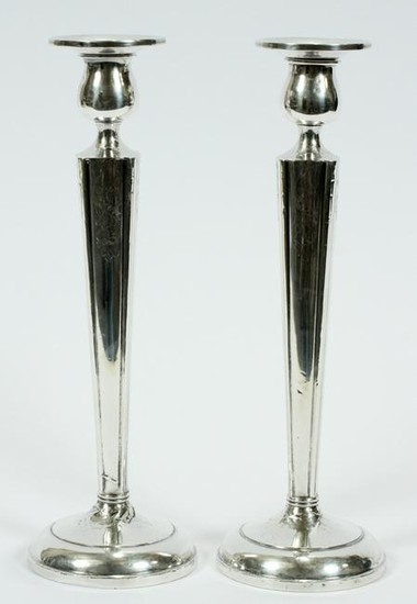 """STERLING SILVER CANDLESTICKS, PAIR, H 9.5"""", DIA 3"""""""