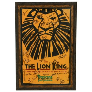Lot Art The Lion King Broadway Musical Poster Signed By Cast