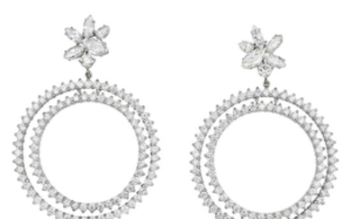 A Pair of Large Diamond Earrings