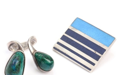 A. Michelsen a.o.: A sterling silver pendant and ring resp. set with enamel and presumably azurite malachite. Ring size app. 46. Pendant 2.5×3 cm. (2)