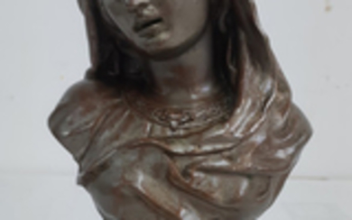 FRENCH WHITE METAL BUST OF A YOUNG WOMAN