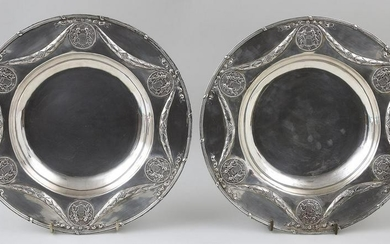 Pair of large 18th century French chargers