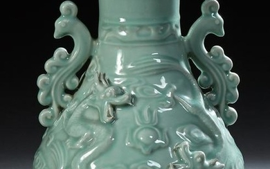 Large Chinese Celadon Baluster Vase, 20th c., with