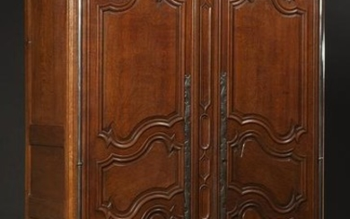 French Provincial Louis XV Style Carved Oak Armoire,