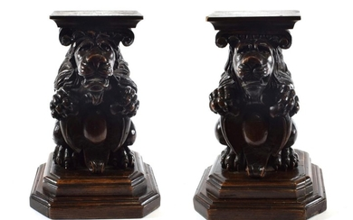 A Pair of Carved Walnut Stands, in 16th century style,...