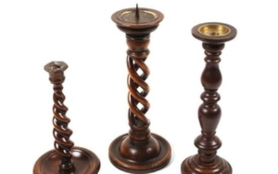 Group of Three Twisted Wood Candlesticks