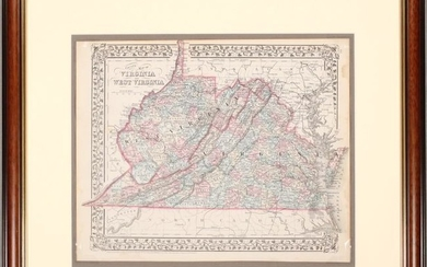 """NO RESERVE, """"County Map of Virginia and West Virginia"""", Mitchell, Samuel Augustus"""