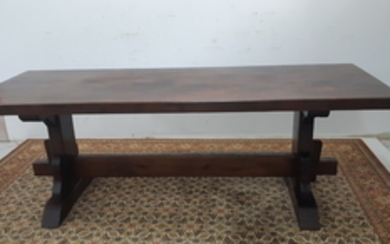 FRENCH STAINED WALNUT TRESTLE STYLE TABLE