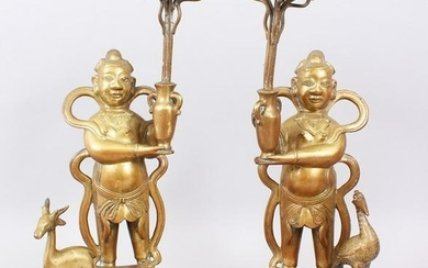 A GOOD PAIR OF LATE 19TH CENTURY CHINESE BRONZE