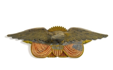 EXCEPTIONAL LARGE CARVED AND POLYCHROME PAINT-DECORATED PINE SPREAD-WINGED 'SUNBURST' AMERICAN EAGLE WALL PLAQUE, QUINCY, MASSACHUSETTS, CIRCA 1875