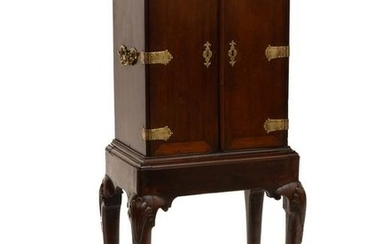 A George II walnut collector s cabinet on stand