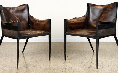PAIR IRON LEATHER CHAIRS MANNER JEAN-MICHEL FRANK