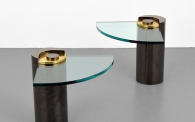 Pair of Karl Springer Cantilevered Occasional Tables - Karl Springer; Karl Springer, Ltd.