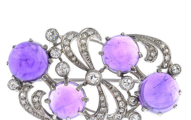 A mid 20th century amethyst and diamond brooch.