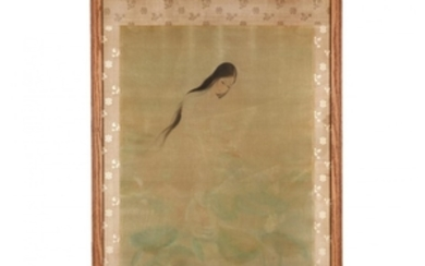 A Painting of a Vietnamese Woman by Lotus Blossoms
