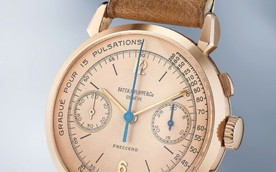 Patek Philippe, Ref. 1579 An elegant and beautiful pink gold chronograph wristwatch with pink dial and pulsometer scale and box