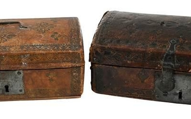 Two 18th Century Tooled Leather Document Boxes