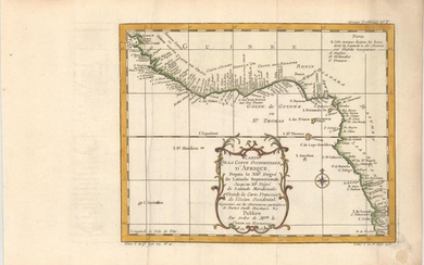 """Carte de la Coste Occidentale d'Afrique, Depuis le XIIe. Degre de Latitude Septentrionale ... Tiree de la Carte Francoise de l'Ocean Occidental..."", Bellin, Jacques Nicolas"