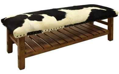 POTTERY BARN 'CADEN' COWHIDE UPHOLSTERED BENCH