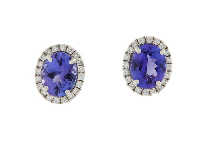 A pair of tanzanite and diamond earstuds